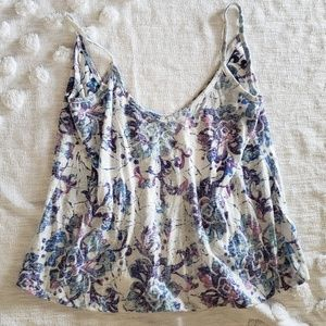 ROXY Purple and Blue Floral Tank Top size small